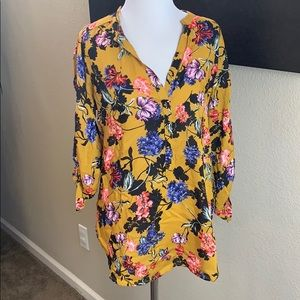 New Grand & Greene mustard floral blouse S